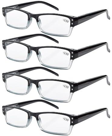 9cb289981b4 Eyekepper 4-pack Spring Hinges Rectangular Reading Glasses Black +1.25
