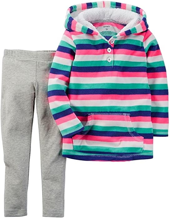 67b1c2072bd65b Carters Infant Girls 2 Piece Set Striped Pink Hoodie Jacket & Leggings  Outfit