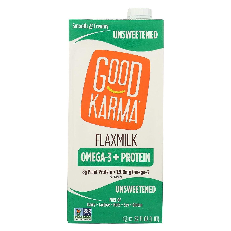 Good Karma Non Dairy Unsweetened Flaxmilk (32 oz Carton) Vegan Protein Packed & Lactose Free Plant Based Milk Alternative