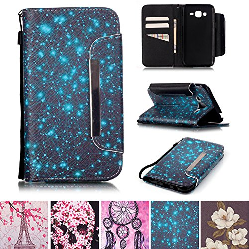 Galaxy J5 2015 Case, Kickstand Card Slots Cash Holder Dual Layer Impact Resistant Case Cover with Wrist Strap Magnetic Snap Closure for Samsung Galaxy J5 2015- Starry