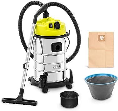 ulsonix Aspiradora En Seco y Húmedo Aspirador Industrial FLOORCLEAN 30FS (Con toma de corriente, Acero inoxidable, Filtro de vellón, 1.400 W / 21 kPa, 30 L): Amazon.es: Bricolaje y herramientas
