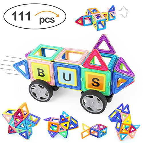 Discount Angelabasics 111 Piece Magnetic Blocks, Magnetic Building Set, Magnetic Tiles, Educational Toys for Baby/Kids with Storage Bag for cheap