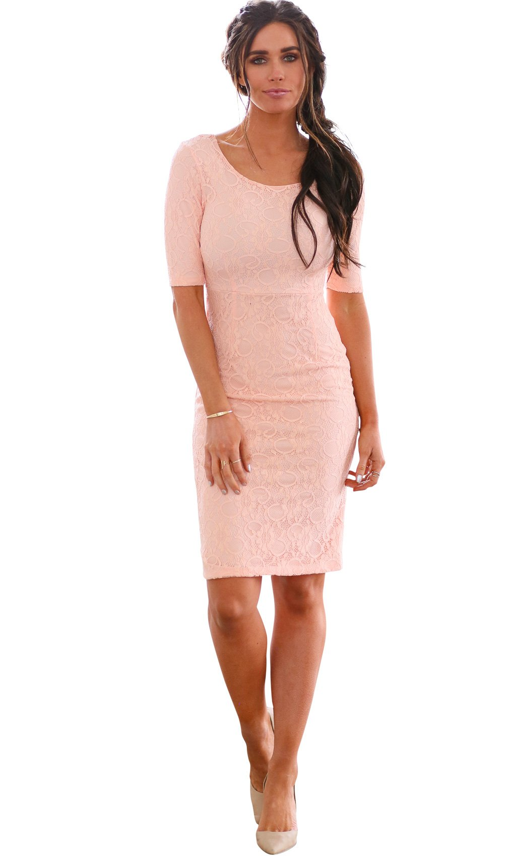 ee5ea7cfbf7 Mikarose June Modest Pencil Dress In Peachy Pink Lace - L