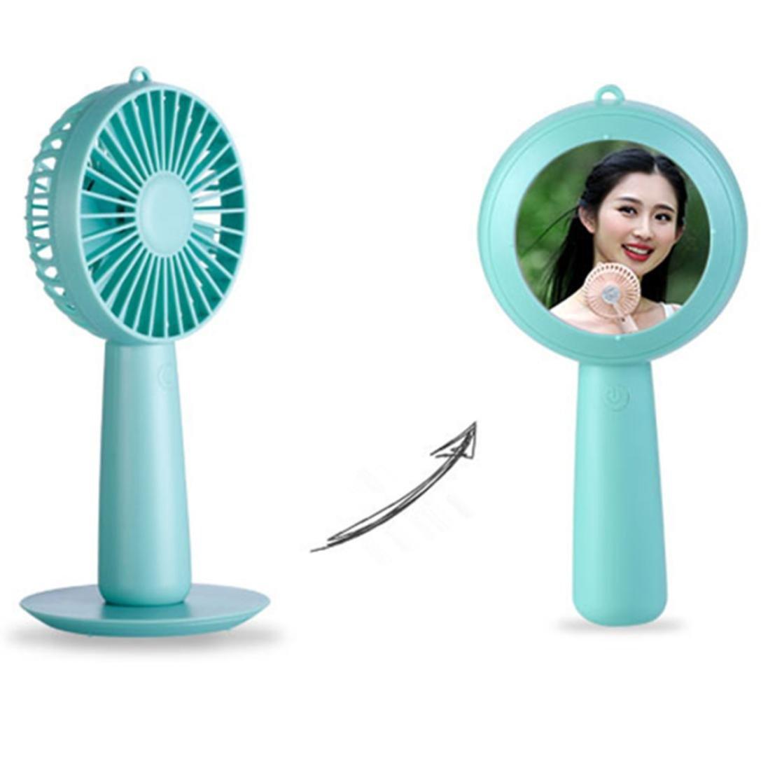 Sikye Handheld Mirror Fan,Protable USB Mini Electric Fan 3-Speed Wind Adjustable for Office,Travel,Sport (green) by Sikye