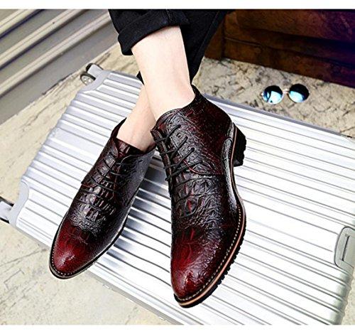 WZG Inglaterra señaló ocasional otoño y en forma de bota bota zapatos de moda masculina patrón de Martin botas de cocodrilo de los hombres de invierno Red