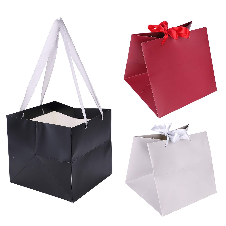 rouge gris f/ête de No/ël sac en papier recycl/é Lot de 3 25,4 x 25,4 x 22,9 cm anniversaire noir Grand sac cadeau de luxe en papier avec poign/ée en papier pour f/ête de mariage