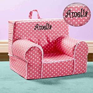 Kids Anytime Chair, Personalized (Pink with Polka Dots)