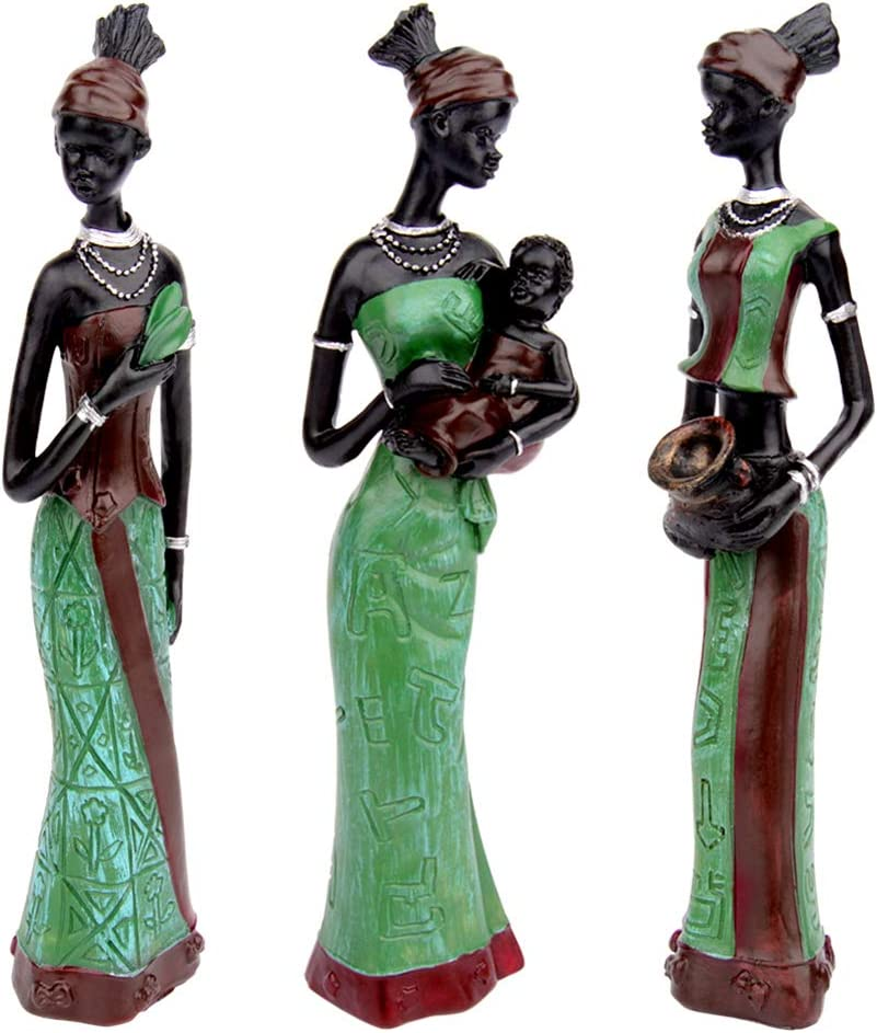 CYYKDA 3PACK Vintage African Statue. Hand Sculpture African American Figurines. Exotic Tribal Lady African Art Piece for Home Decor. Figurines Home Decor. Room Decor for Women (Green)