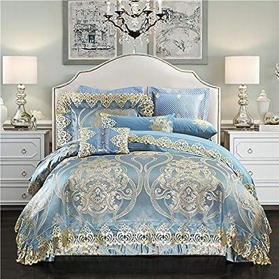 dfsgrfvf Jacquard de algodón Satinado de Seda Juego de sábanas Reina/Rey Juego de sábanas Azul Dorado de tamaño 4pcs Juegos de: Amazon.es: Hogar