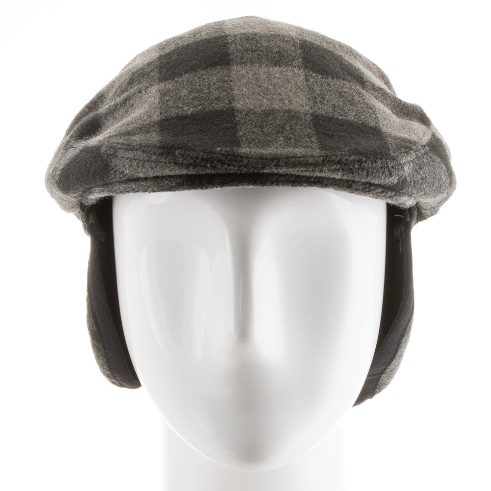 New Jersey Plaid Wool Newsboy Ivy Cap with Fleece Ear Flaps
