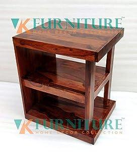 VK Furniture Sheesham Wood Bedside Table for Bedroom   Wooden Side End Table   with Shelf Storage   Natural Teak Finish