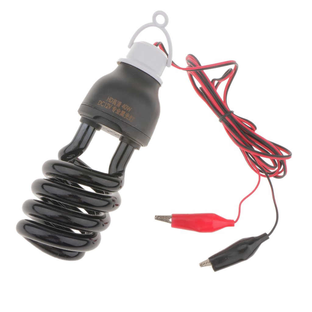 MonkeyJack 12V Ultraviolet Blacklight Bulb With Two Meters Clamp Spiral Effect Light Bulb - 40W