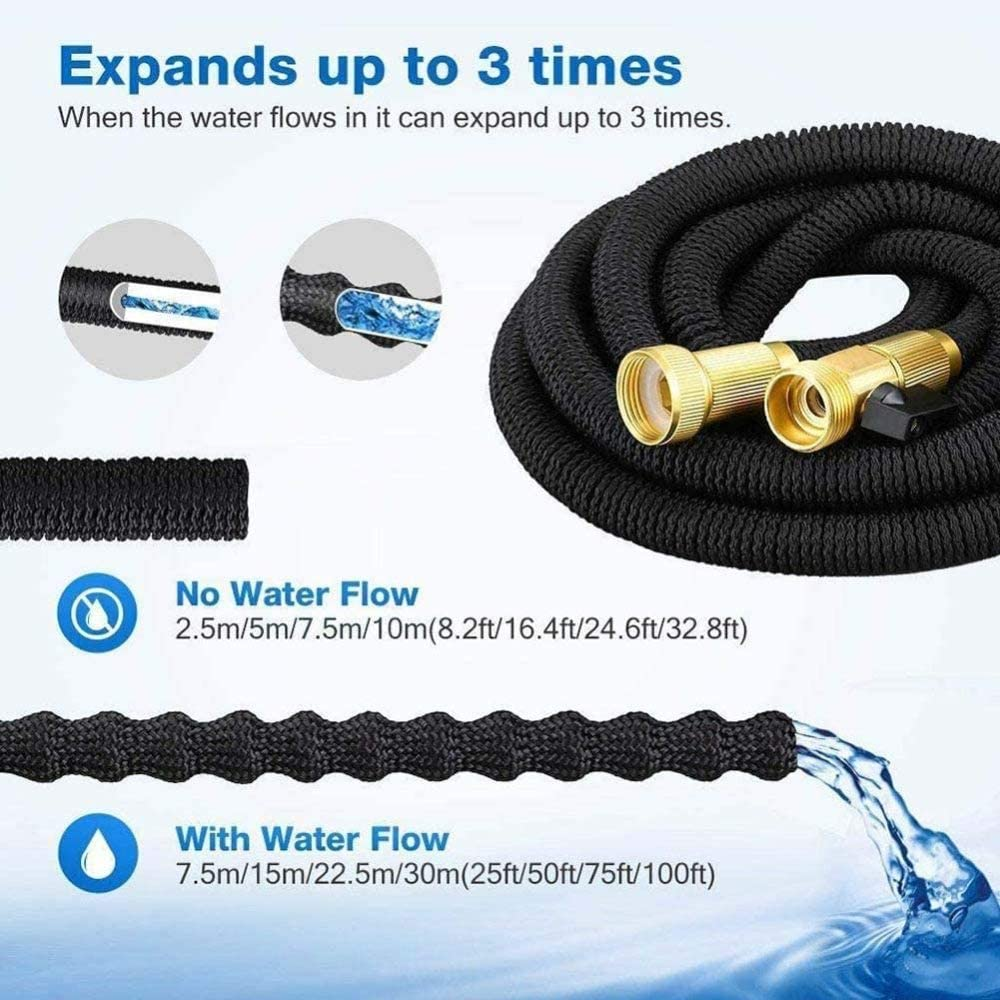 Garden Hose Expandable Hose Pipe Flexible Magic Hose, Garden Hose Pipe with 8 Function Nozzle for Pool, Boat, Garden Watering, Pet Cleaning,15M/50FT 7.5m/25ft