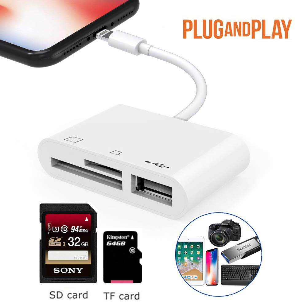 SD//TF Card Reader Adapter 3 in 1 Plug and Play USB 2.0 Female OTG Adapter Cable Compatible for iPhone and iPad,Trail Game Camera SD Card Reader No App Required