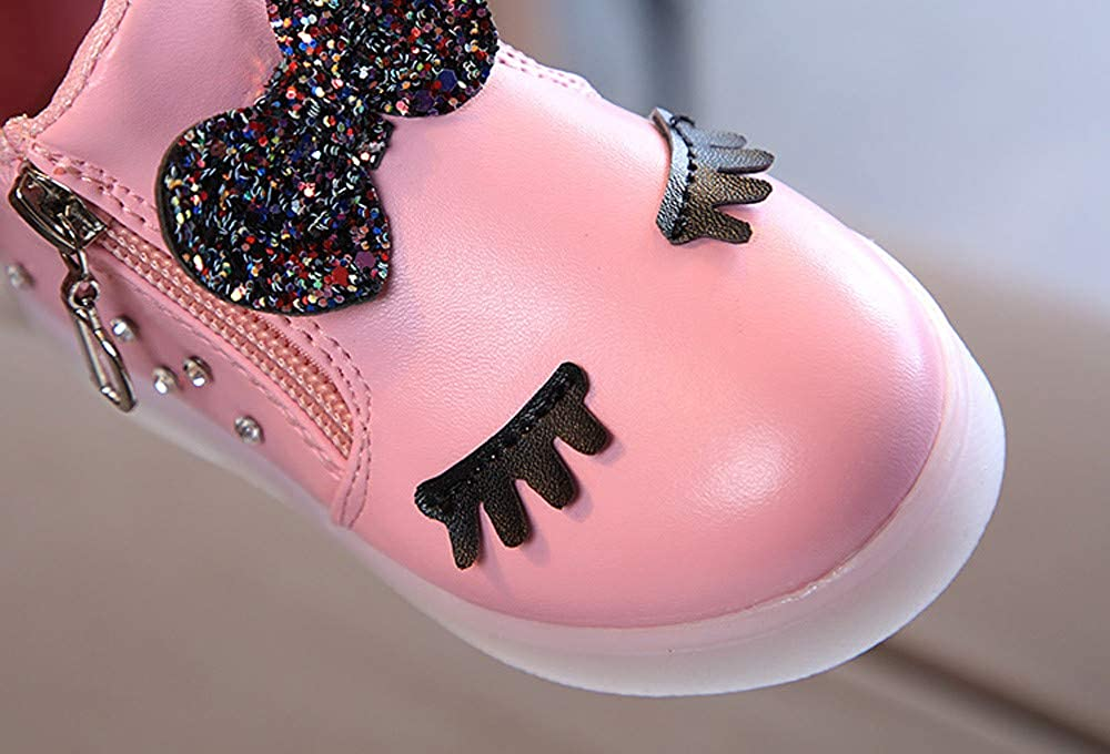WINJIN Chaussures b/éb/é Enfants Bottes Sports Chaussures Enfant en Bas /âge B/éb/é Fille Baskets Infant Girls Paillettes Brillant Cils Bowknot LED Lumineuses Sneakers 1 Ans-6 Ans, Blanc Rouge Rose Noir