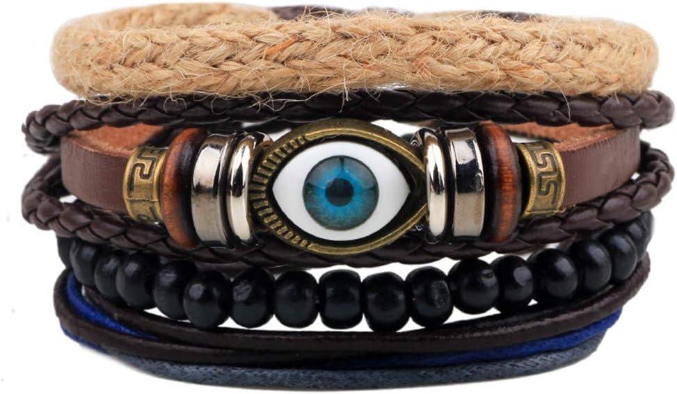 Zgsjbmh Bracelet Punk Corde de Chanvre Corde de Cuir Corde de Cire Bracelet de Mauvais /œil Tissage de Perle de Bois Femme Homme Bracelet