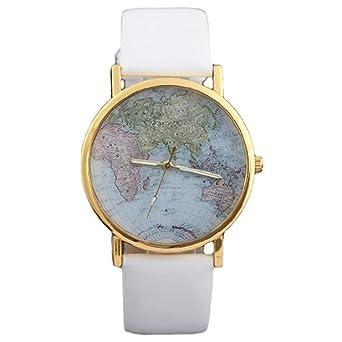 Retro world map womens quartz wrist watch white amazon watches retro world map womens quartz wrist watch white gumiabroncs Gallery