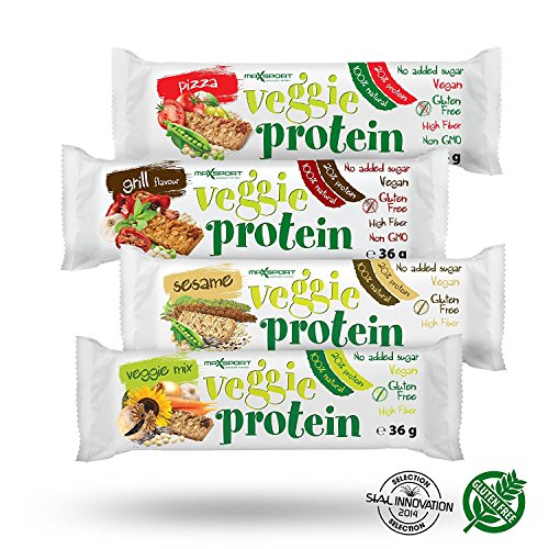 Maxsport Nutrition Glutenfrei Vegan Protein Veggie Proteinriegel - 16 Stück (Mix Box)