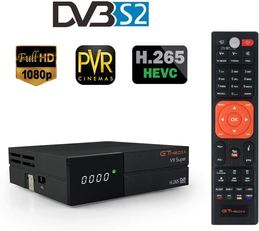 GT Media V9 Super DVB S2 Decodificador, Satélite Receptor de TV Digital H.265 1080P Full HD WiFi Incorporado compatible con Ccam, Newcam, IPTV, ...