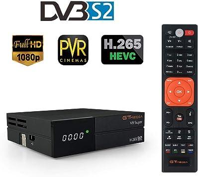 GT Media V9 Super DVB-S2 Receptor de TV HD 1080P Receptor de TV Digital Receptor de transmisión de Video Digital Soporte WiFi Incorporado H.265 Soporte PVR Youtube CCcam Enchufe de la UE:
