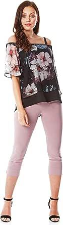 Roman Originals Top de gasa floral con hombros descubiertos para mujer, para primavera, verano, vacaciones, crucero, manga corta, asimétrico, ligero, flotador