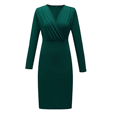 Women's Classic V-Neck Long Sleeve Casual Party Work Knee-Length Sheath Faux Wrap Business Dress at Women's Clothing store