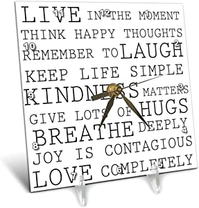 3dRose Inspirational Words Black and White Text - Desk Clock, 6 by 6-Inch (dc_179040_1)