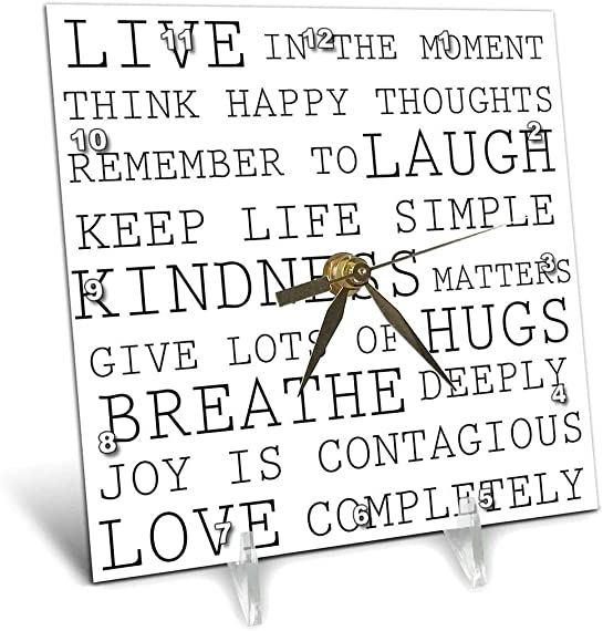 3dRose Inspirational Words Black and White Text – Desk Clock, 6 by 6-Inch dc_179040_1