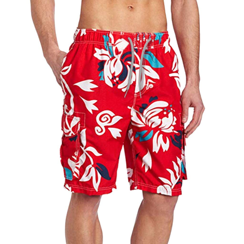 Mens Short Swim Trunks Boys Quick Dry Swim Shorts Bathing Suits Printed Casual Holiday Beach Shorts with Pockets