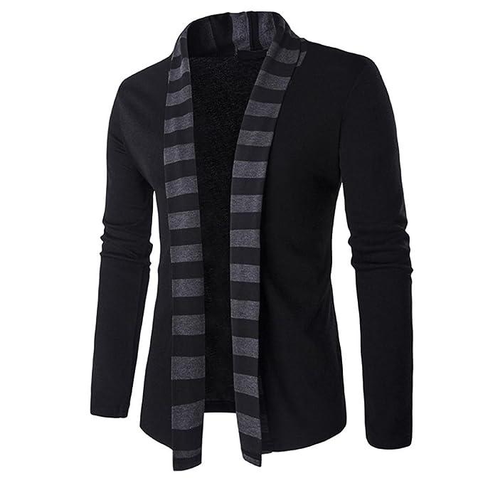Koly Top Moda Abrigos para Hombre Algodón Chaqueta Cardigan Chaqueta de Punto de Invierno para Hombre