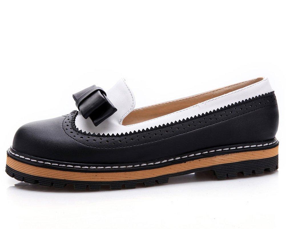 247db11b0e6 HiEase Mujeres Sweet Bowknot Oxfords Zapatos impermeables Escuela de cuero  Estudiantes Chicas Zapatos de vestir planos Tamaño 4-11 Negro