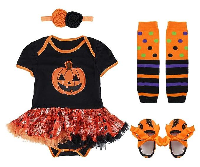 MOMBEBE COSLAND Bodies para Bebé Niños Calabaza Halloween Tutú con Diadema