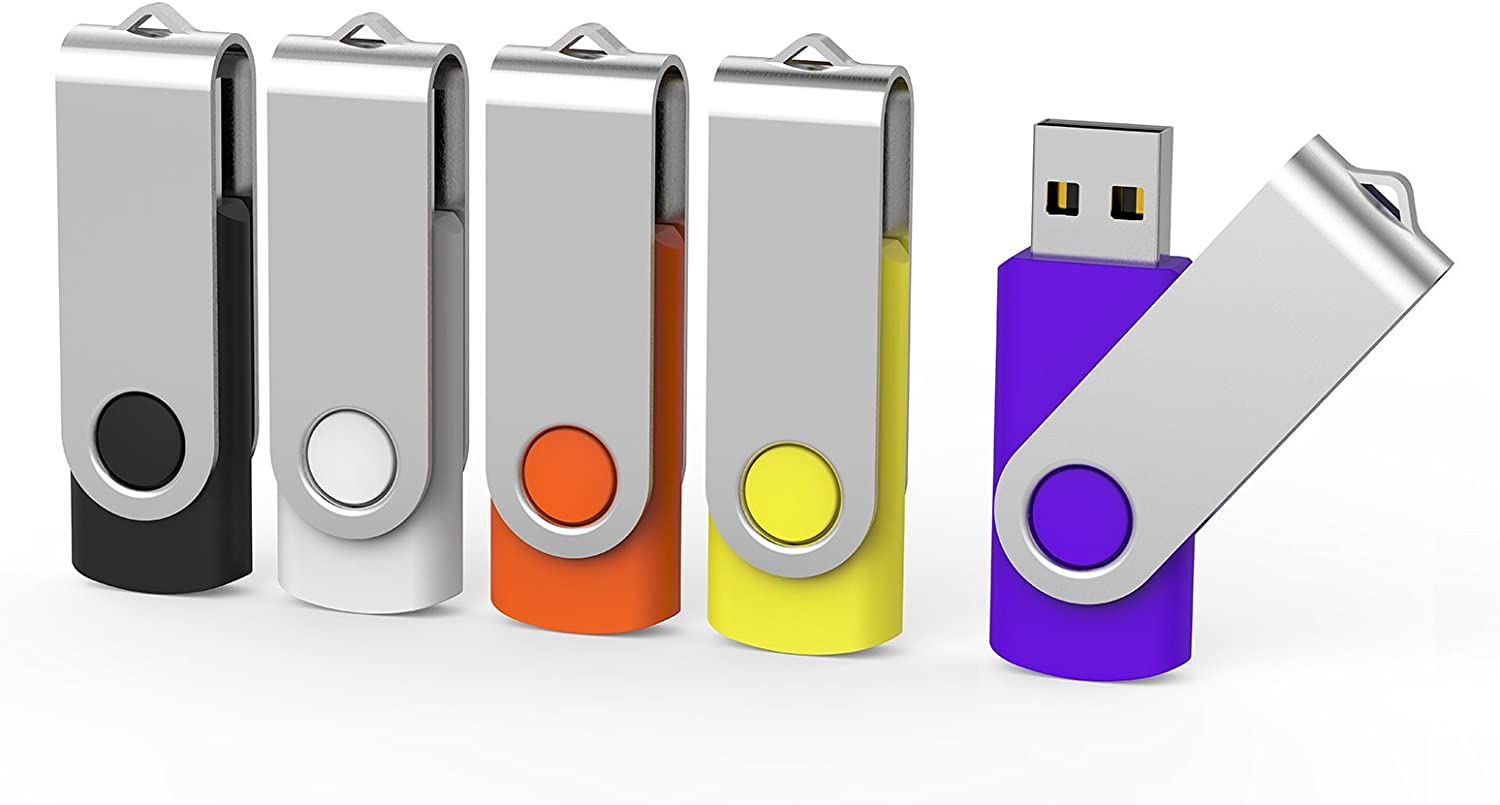 Aiibe 5pcs USB Flash Drive 4gb Pen Drive Thumb Drives (5 Colors: Black Red Yellow White Purple)