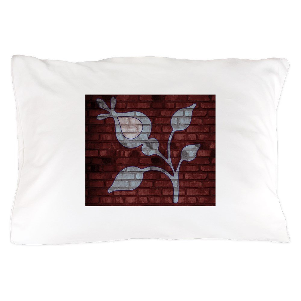 CafePress - Blue Flower Brick Wall Art - Standard Size Pillow Case, 20''x30'' Pillow Cover, Unique Pillow Slip