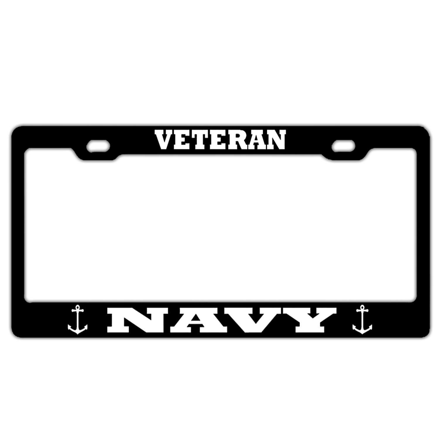 Personalized Black License Plate Frame 2 Holes Car Aluminum Metal License Plate Tag Cover
