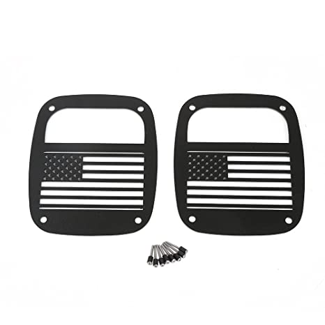 Xprite Matte Series Black Rear Tailight Tail Light Protector Cover Guards Jeep Front Grill for Jeep Wrangler YJ TJ LJ 1985-2006