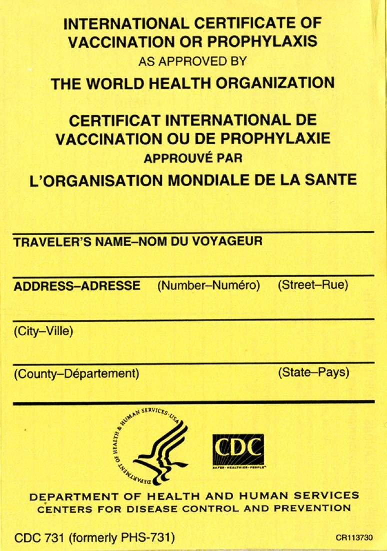 Pack of 7 CDC International Certificate of Vaccination or