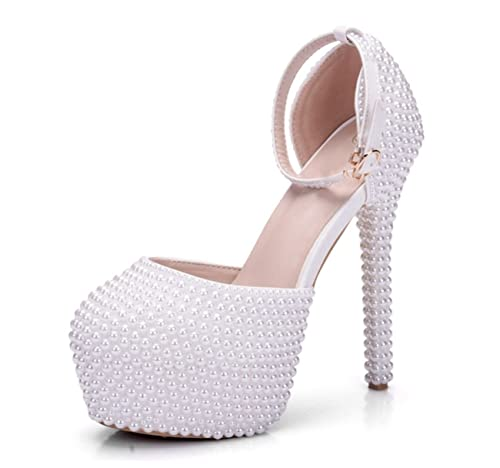 MINITOO Ladies Hidden Platform Ankle Strap Pearl Beading White Bridal  Wedding Shoes UK 2.5 34a41d9bb505