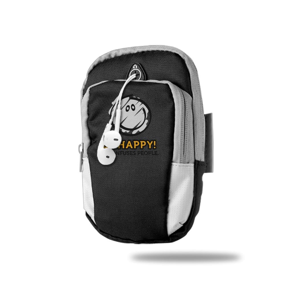 Workout Camping Travel Hiking Multifunctional Pockets Arm Bag For Cell Phone -Men Women During Running Cycling Be Happy And A Smile Cartoon Face Sports Arm Bag//Arm Bands