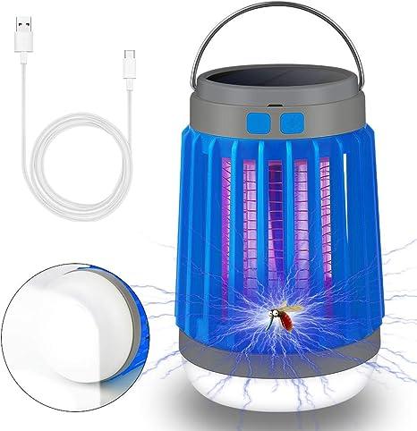 3 en 1 Lámpara Antimosquitos, Lámpara Camping Antimosquitos, Solar Mosquito Killer, Lámpara LED Zapper, Lámpara LED Mosquitos Portátil USB Recargable ...