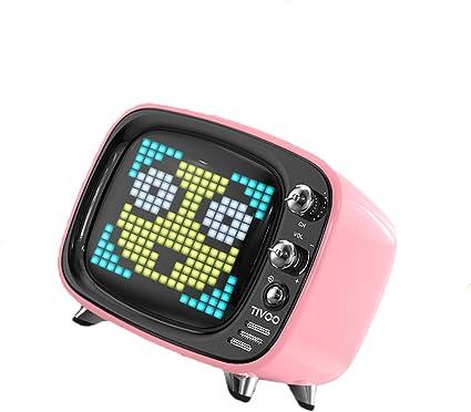 GSPURS Altavoz Bluetooth portátil, Mini Altavoz inalámbrico Bluetooth Pixel Smart TV pequeño con Reloj Despertador, Clima, Pantalla de Temperatura, Juegos, etc.: Amazon.es: Electrónica