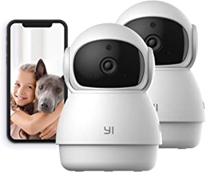 YI Indoor Wireless WiFi Security IP Camera Dome Guard, Smart Nanny Pet Dog Cat Cam with Night Vision, 2-Way Audio, Motion Detection, 360-degree, Phone App, Compatible with Alexa and Google