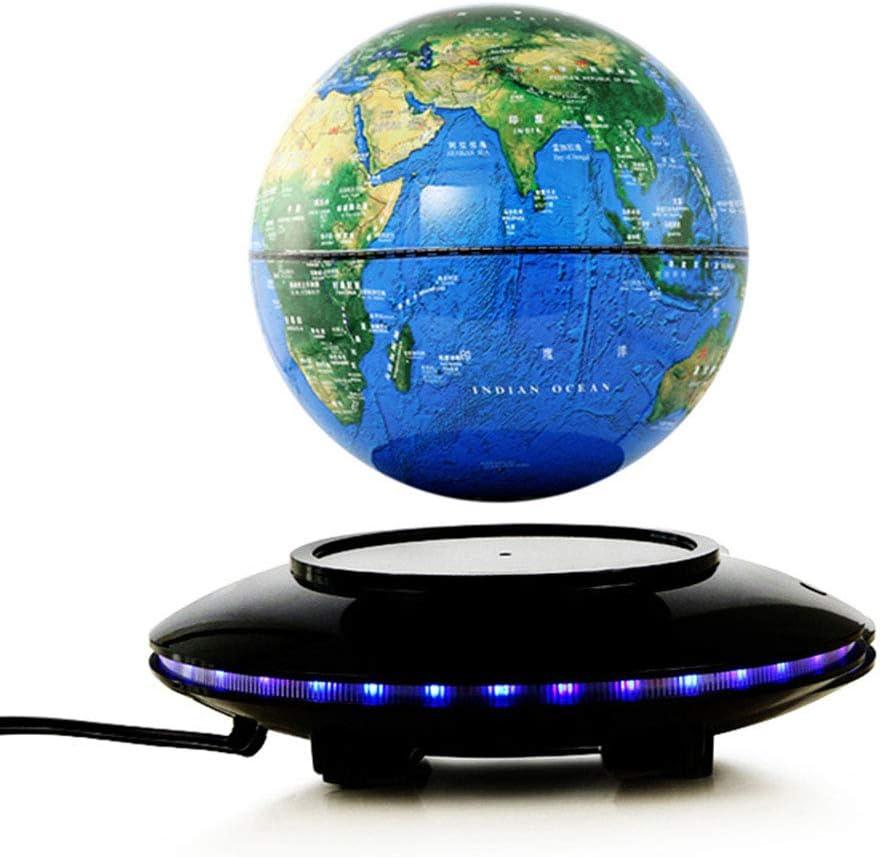 地球儀 LEDライト付きデスクデコレーション6インチフローティンググローブ浮遊式フローティンググローブワールドマップ(ブルー、6インチ) 学習 入学