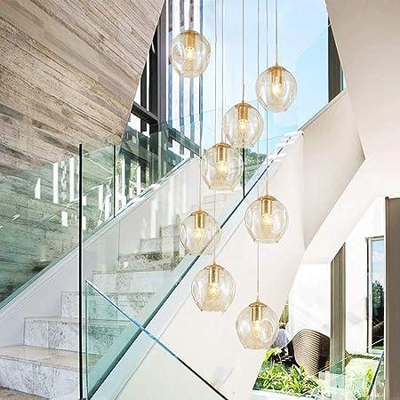 Lámpara de techo de la pantalla de vidrio de color champán luz pendiente de múltiples bolas