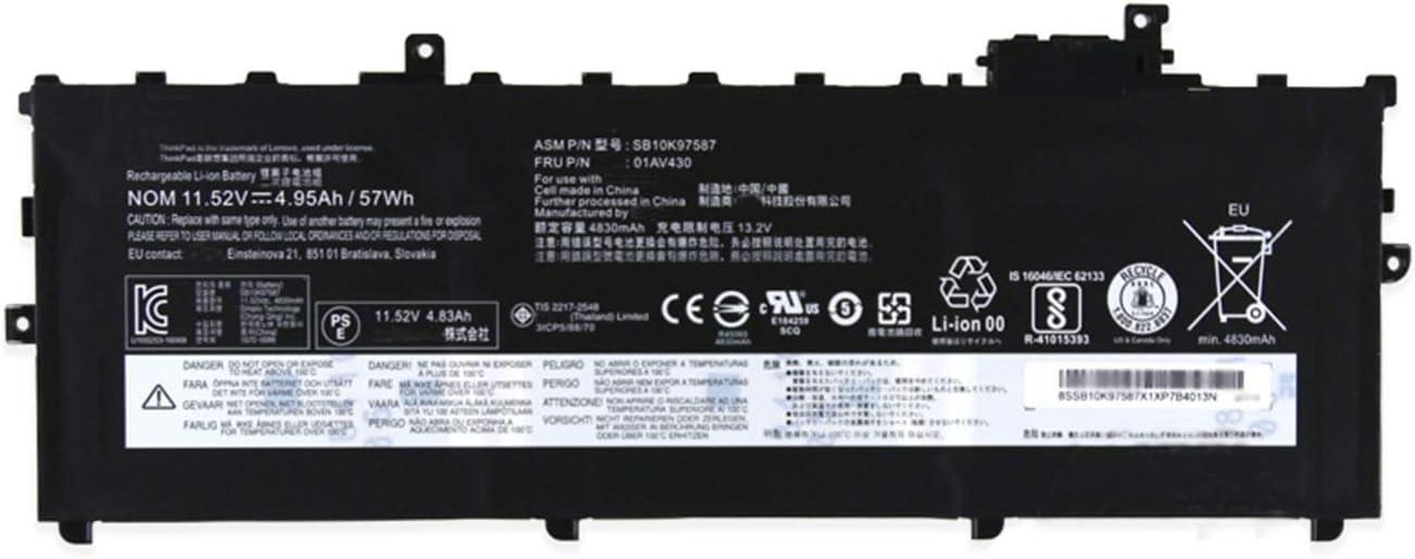 BOWEIRUI SB10K97587 (11.52V 57Wh 4950mAh) Laptop Battery Replacement for Lenovo ThinkPad X1 Carbon 2017 Series 01AV430 01AV429 01AV431 SB10K97588