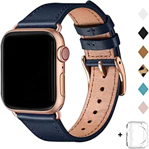 Bestig Band Compatible for Apple Watch 38mm 40mm 42mm 44mm, Genuine Leather Replacement Strap for iWatch Series 6 SE 5 4 3 2 1, Sports & Edition (Dark Blue Band+Rose Gold Adapter, 42mm 44mm)