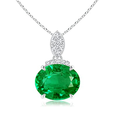 Angara Inverted Pear GIA Certified Emerald Necklace with Diamonds CB1Cpssy