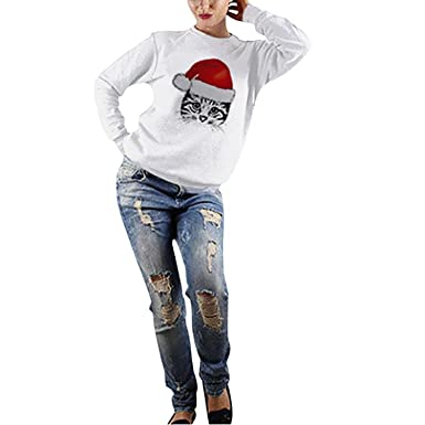 b745cefffc Christmas Jumpers for Women Mingfa Cute Xmas Cat Round Neck Sweatshirt  Pullover Tops Blouse: Amazon.co.uk: Clothing