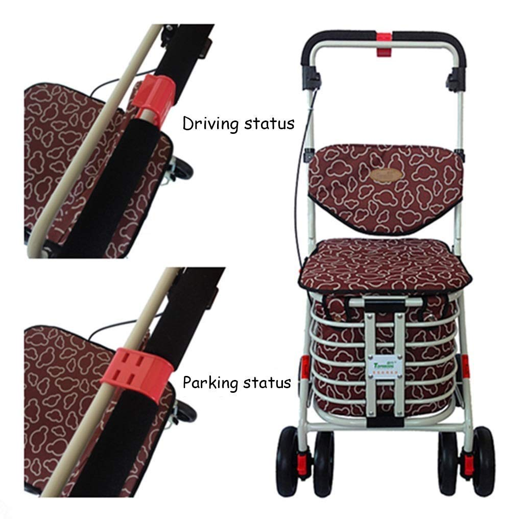 ZfgG Multi-Function Shopping Cart Four-Wheeled Bicycle Grocery Shopping Cart Elderly Leisure Can Sit Cart Folding Auxiliary Walker Hand Trucks Color : Brown, Size : 37 47 92cm