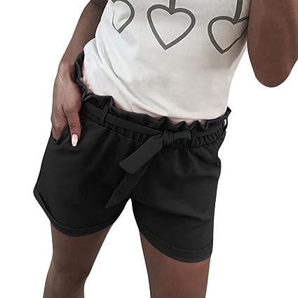 376eb5d006 Amazon.com: Women Summer Beach Shorts Casual Drawstring Ruffled ...
